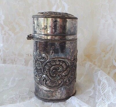 Antique Shaving Brush Canister Middletown Co 1898-1921 Silverplate Canister