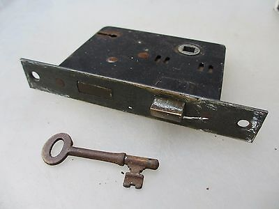 Vintage Iron Door Lock with Original Key Architectural Antique Brass Old Evered