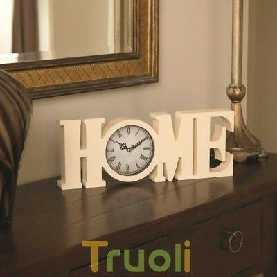 HOME Clock Sign Free Standing Word Letters Desk Table Mantel Ornement
