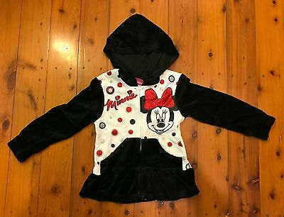 Kids Girl Minnie Mouse Black White Hoodie Jacket Size 4-14