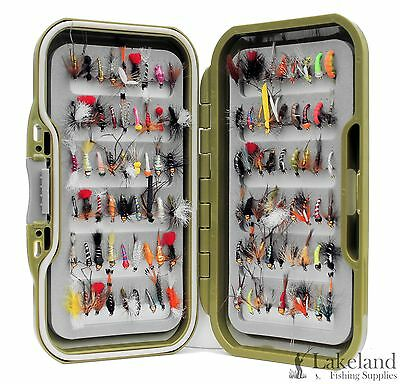 Green Fly Box + Mixed Trout Fishing Flies Wet Dry Nymph Buzzers 10 25 50 100