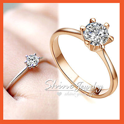 9K ROSE GOLD GF SOLID CLASSIC 1CT SOLITAIRE DIAMOND ENGAGEMENT WEDDING claw RING