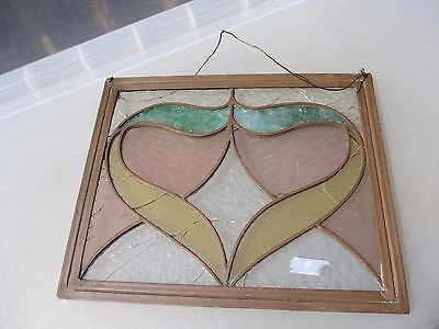 Vintage Stained Glass Window Hanger Panel Copper Frame Art Nouveau Antique Old