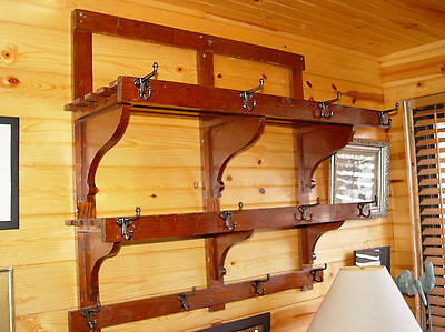 Rare Antique Saloon Country hall coat / hat hook rack double slatted shelves