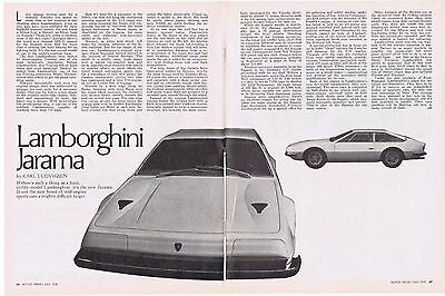 1970 Article - LAMBORGHINI JARAMA - 2 Page Article