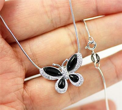 """Solid 925 Sterling Silver, Black Agate Butterfly Pendant Necklace, 18"""" + box"""