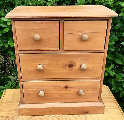 Miniature Solid Pine 2 Over 2 Apprentice Chest Of Drawers *apothecary / Herbs*