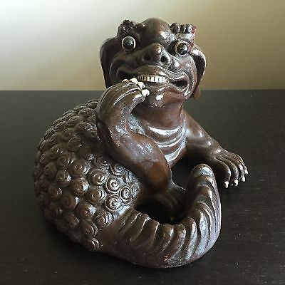 Fine Old 19th / 20th C Chinese Pottery Clawed Foo Dog Lion Statue Sculpture Art
