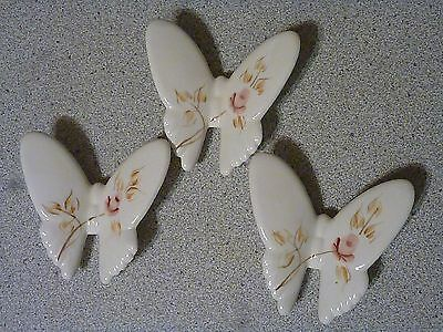 Set/3HOMECO/HOME INTERIORS DECORATIVE CERAMIC BUTTERFLIES ONE CHIPPED & REPAIRED
