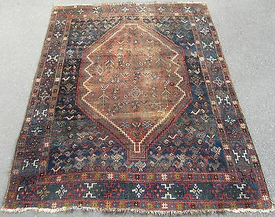 Antique Shabby Chic Country House Persian Qashqai Rug  Bird Motifs 100 Year Old