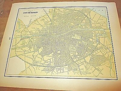Antique 1896 Colored City Map of Dublin & Reverse is Vienna