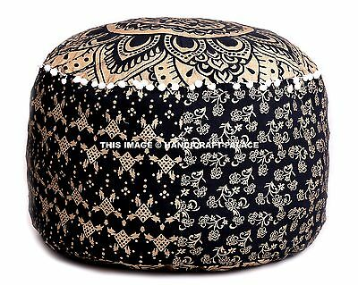 Indian Gold Ombre Mandala Ottoman Pouf Cover , Indian Living Room Foot Stool,