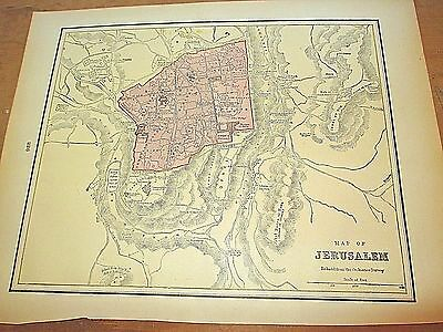 Antique 1896 Colored City Map of Jerusalem & Reverse is Alexandria, Cyprus