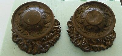 Pair Of Very Nice Antique Fancy Brass Drawer Pulls Or Knobs All Original