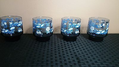 Vintage Set of 4 Libbey Drinking Glasses Blue Flowers Small Tumblers
