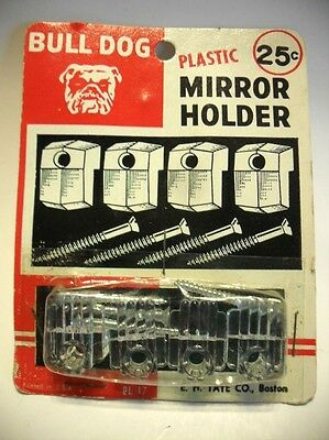 Pack of 4 Vtg NOS Clear Lucite Plastic Mirror Mounting Clips Holders Bull Dog