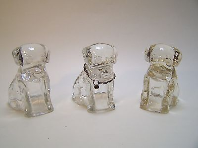Glass 3 Mopey Dogs Candy Container Federal Pressed Glass Collar Vintage USA