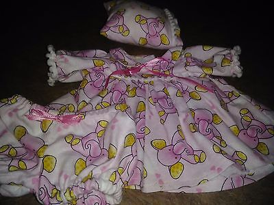 "Pink Elephant Print Nightgown,Panties,Pillow for 16""  Cabbage Patch Doll"