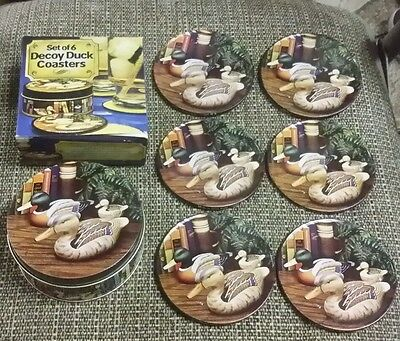 Set of 12 decoy duck coasters with boxes