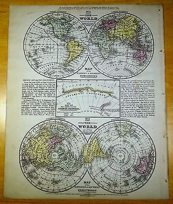 Antique Map WORLD 1852 US Hand-Colored MITCHELL Hemispheres E W N S