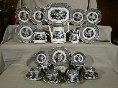 Rare Antique Staffordshire 24 Pieces Mulberry Missouri Coffee Dessert Set