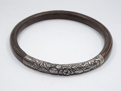 ANTIQUE EARLY 20c CHINESE STERLING LOTUS REPOUSSE BAMBOO RATTAN BANGLE BRACELET