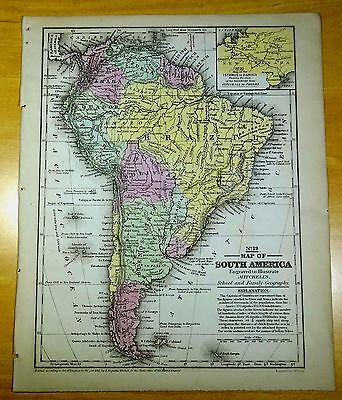 Antique Map SOUTH AMERICA 1852 US Hand-Colored MITCHELL