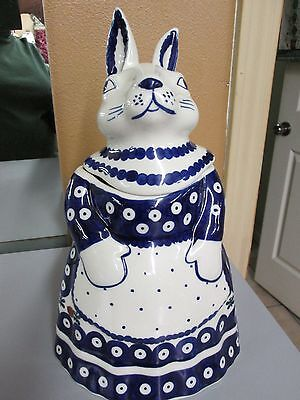 """POLISH POTTERY Bunny Cookie Jar Mosquito New 12"""" tall Hand Made"""