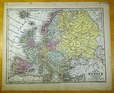 Antique Map EUROPE 1852 US Hand-Colored MITCHELL European Continent