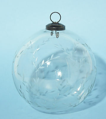 Antique Victorian Engraved Glass Hanging Globe