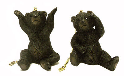 Set Of 2 Black Bear Cub Ceiling Fan Pulls Rustic Lodge Cabin Hunting Decor