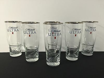 "Michelob Ultra Beer Glass ""M' Logo ~ 16 Ounce ~ Set of Six (6) Glasses ~ NEW"
