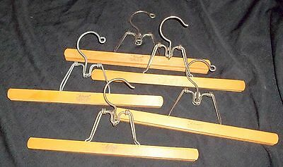 """Vintage 13"""" Blonde Wood Trouser Pant Skirt Clamp Clothes Hangers ~ Lot of 5"""