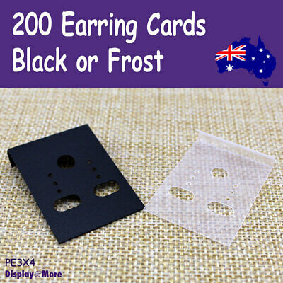200 Earring Jewellery Card-3x4cm-PLAIN Plastic | Black​ or Frost | AUSSIE Sell