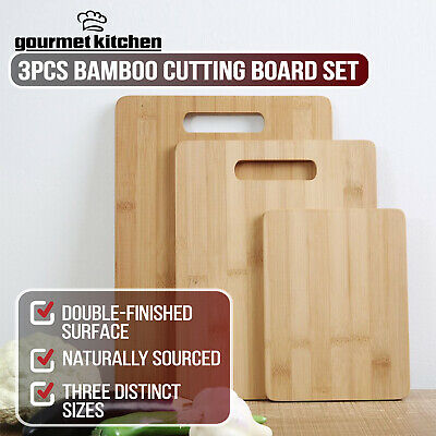 Gourmet Kitchen 3Pc Genuine Bamboo Wood Chopping Board Set Kitchen Cutting