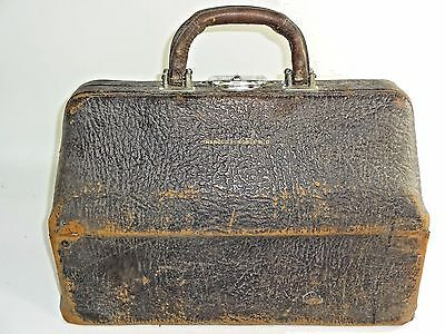 ATQ VTG Large Leather Doctor Medicine Apothecary Bag Clasps Work- ESTATE Find #1