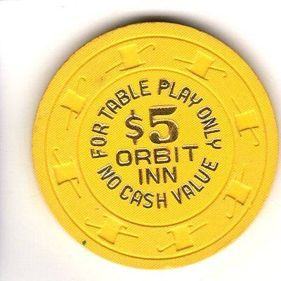 $5 Vintage Casino Chip Orbit Inn, For Table Play Only, No Cash Value, Yellow
