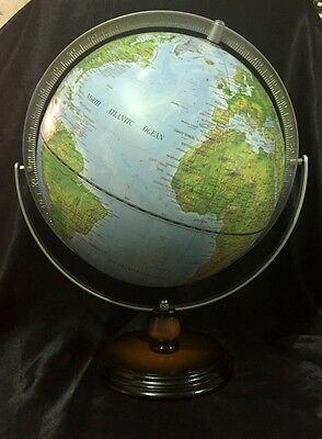 Blue World Ocean Globe 30cm With Gimbal Movement Metal Arm & Wooden Base