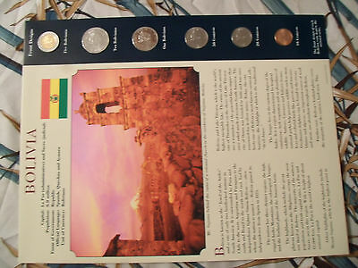 Coins from Around the World Bolivia 6 coin set 1997 - 2004 UNC 5 Bolivianos 2001