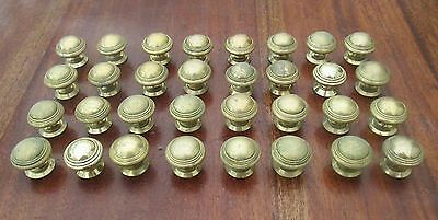 Pair Reclaimed Brass Door Drawer Knobs - Edwardian Art Deco - 16 Pairs Available