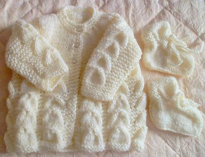 Beautiful Lemon  Hand Knitted Baby Cardigan Newborn  With Matching  Bootees