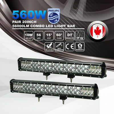 2X 20inch 560W LED Work Light Bar Spot Flood Driving Lamps Offroad VS Tri Row 7D