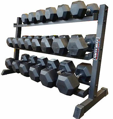 POWER MAXX 10kg to 40kg Rubber Hex Dumbbell Set // 10 Pairs with Rack Commercial