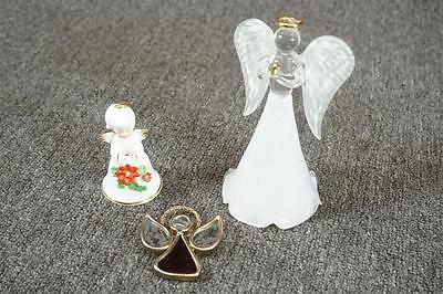 Set Of 3 Angel Decorative Glass And Porcelain Figurines