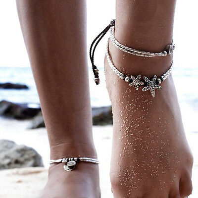 Bohemia Retro Silver Anklet Beach Chain String Starfish Rune Pendant Feet Decor