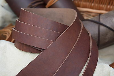 122cm LONG 3.0mm THICK STRAP VINTAGE LOOK BUTT LEATHER STRIP BROWN VARIOUS WIDTH