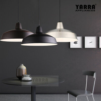 3 Colour Modern Industrial Pendant Light Ceiling Lamp Steel E27 1.7M Cord Cafe