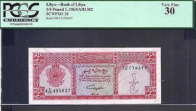 Libya p-28 , VF, 1/4 Pound, 1963 , PCGS Graded 30