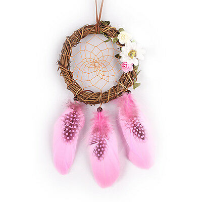 Traditional Pink Dream Catcher with Feathers Bedroom/Wall/Car Hanging Ornament
