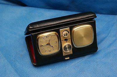 Vintage di Lana Travel Alarm Clock AM Transistor Radio With Genuine Leather Case